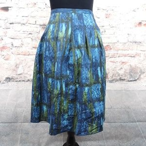 Talbots 14P Blue Green Cotton Watercolor Skirt